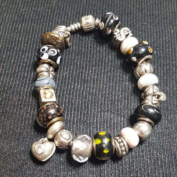 Pandora 925 Silver Charm Bracelet - 22 charms